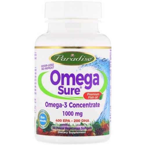 Paradise Herbs, Omega Sure, Omega-3 Premium Fish Oil, 1,000 mg, 30 Pesco Vegetarian Softgels فوائد