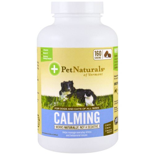Pet Naturals of Vermont, Calming, For Dogs and Cats, 160 Chews, 8.46 oz (240 g) فوائد