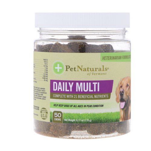Pet Naturals of Vermont, Daily Multi, For Dogs, 50 Chews, 6.17 oz (175 g) فوائد