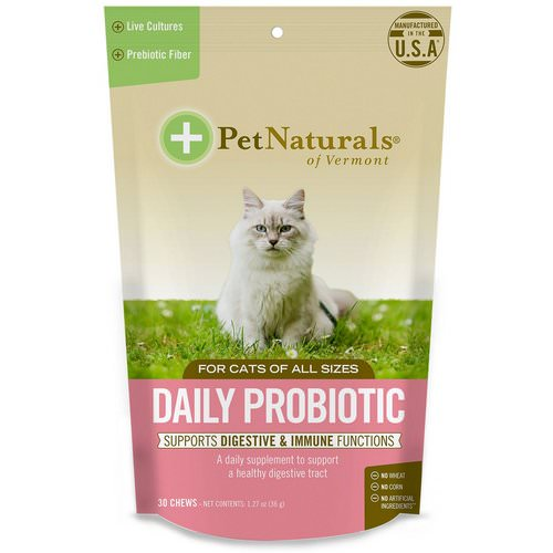 Pet Naturals of Vermont, Daily Probiotic, For Cats, 30 Chews, 1.27 oz (36 g) فوائد