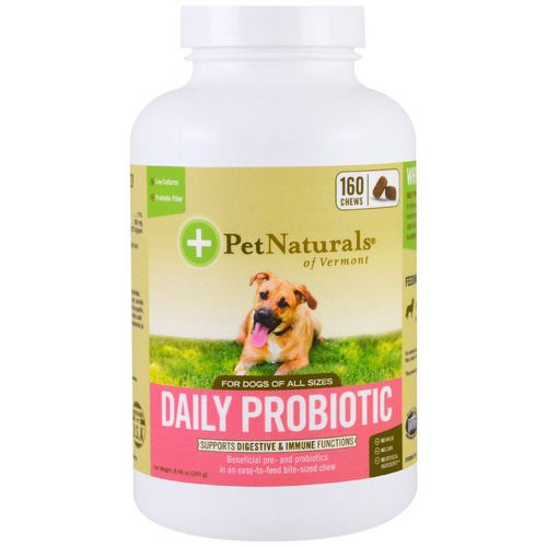 Pet Naturals of Vermont, Daily Probiotic, For Dogs of All Sizes, 160 Chews, 8.46 oz (240 g) فوائد
