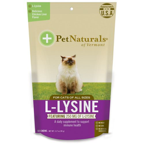 Pet Naturals of Vermont, L-Lysine, For Cats, Chicken Liver Flavor, 250 mg, 60 Chews, 3.17 oz (90 g) فوائد
