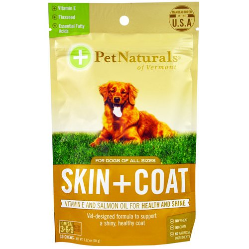 Pet Naturals of Vermont, Skin + Coat, For Dogs, 30 Chews, 2.12 oz (60g) فوائد