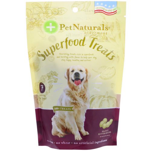Pet Naturals of Vermont, Superfood Treats for Dogs, Peanut Butter Recipe, 100+ Treats, 8.5 oz (240 g) فوائد