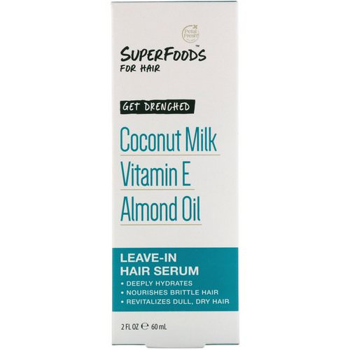 Petal Fresh, Pure, SuperFoods for Hair, Get Drenched Leave-In Hair Serum, Coconut Milk, Vitamin E & Almond Oil, 2 fl oz (60 ml) فوائد