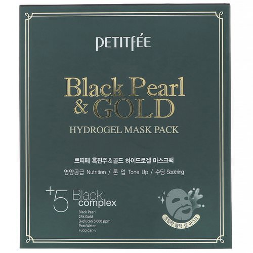Petitfee, Black Pearl & Gold Hydrogel Mask Pack, 5 Sheets, 32 g Each فوائد