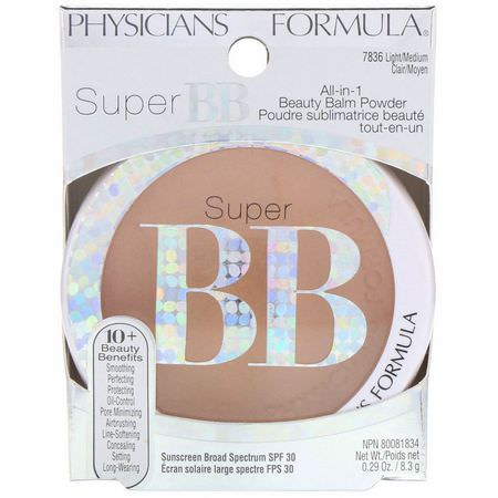 Physicians Formula, Super BB, All-in-1 Beauty Balm Powder, SPF 30, Light/Medium, 0.29 oz (8.3 g):ب,درة مضغ,طة, كريمات BB - CC