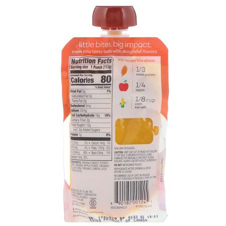 Plum Organics, Organic Baby Food, Stage 2, Sweet Potato, Apple & Corn, 4 oz (113 g):,جبات, هريس