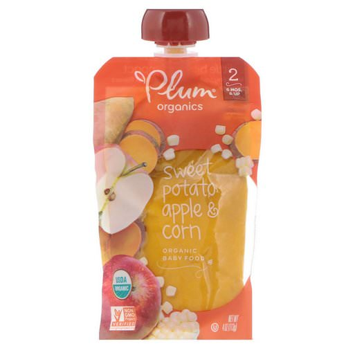 Plum Organics, Organic Baby Food, Stage 2, Sweet Potato, Apple & Corn, 4 oz (113 g) فوائد