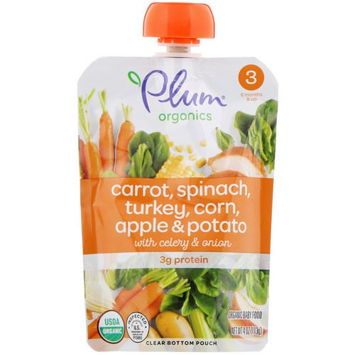 Plum Organics, Organic Baby Food, Stage 3, Carrot, Spinach, Turkey, Corn, Apple & Potato with Celery & Onion, 4 oz (113 g) فوائد