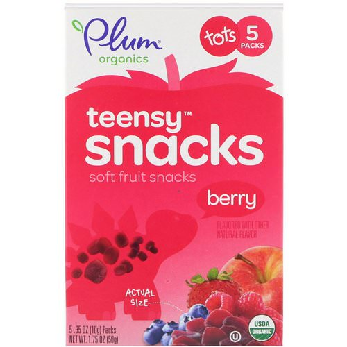 Plum Organics, Tots,Organic Teensy Soft Fruits Snacks, Berry, 12+ Months, 5 Packs, .35 oz (10 g) Each فوائد
