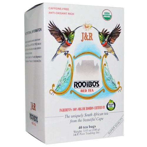 J&R Port Trading Co, Pure Rooibos Red Tea, Caffeine Free, 40 Tea Bags, 3.53 oz (100 g) فوائد
