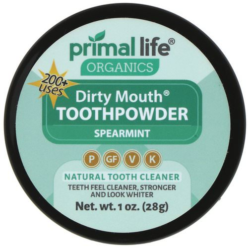 Primal Life Organics, Dirty Mouth Toothpowder, Spearmint, 1 oz (28 g) فوائد
