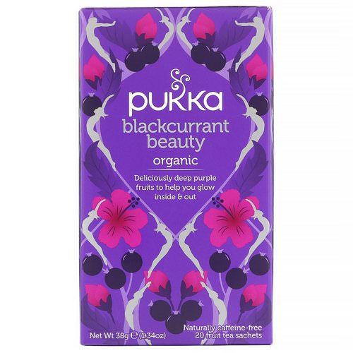 Pukka Herbs, Organic Blackcurrant Beauty, Caffeine-Free, 20 Fruit Tea Sachets, 1.34 oz (38 g) فوائد