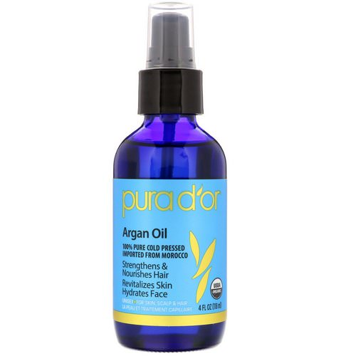 Pura D'or, Organic Argan Oil, 4 fl oz (118 ml) فوائد