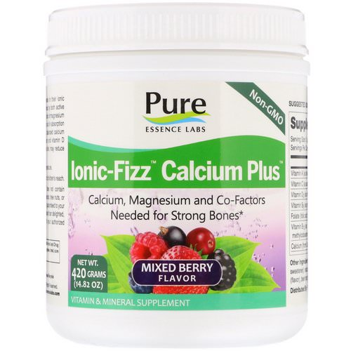 Pure Essence, Ionic-Fizz Calcium Plus, Mixed Berry, 14.82 oz (420 g) فوائد