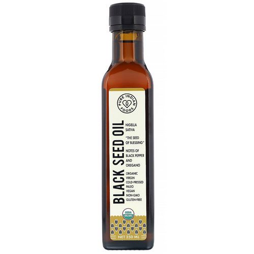 Pure Indian Foods, Organic Cold Pressed Virgin Black Seed Oil, 250 ml فوائد
