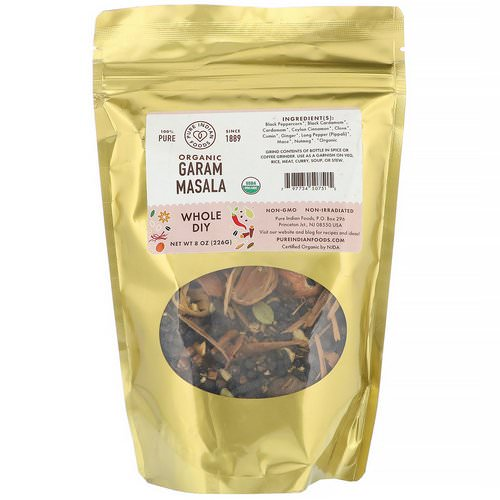 Pure Indian Foods, Organic Garam Masala, Whole DIY, 8 oz (226 g) فوائد