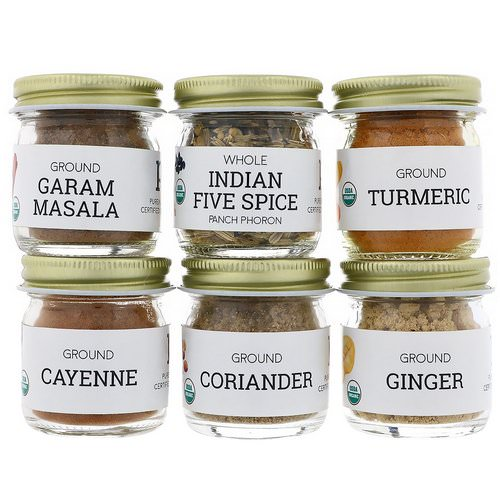 Pure Indian Foods, Organic Indian Spice Starter Kit, Experience Level: Beginner, Variety Pack, 6 Seasonings فوائد
