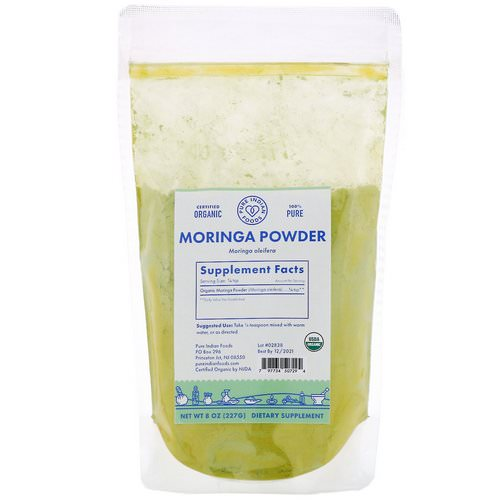 Pure Indian Foods, Organic Moringa Powder, 8 oz (227 g) فوائد