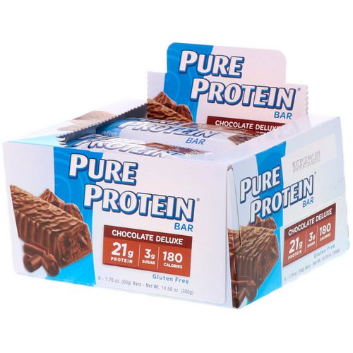 Pure Protein, Chocolate Deluxe Bar, 6 Bars, 1.76 oz (50 g) Each فوائد