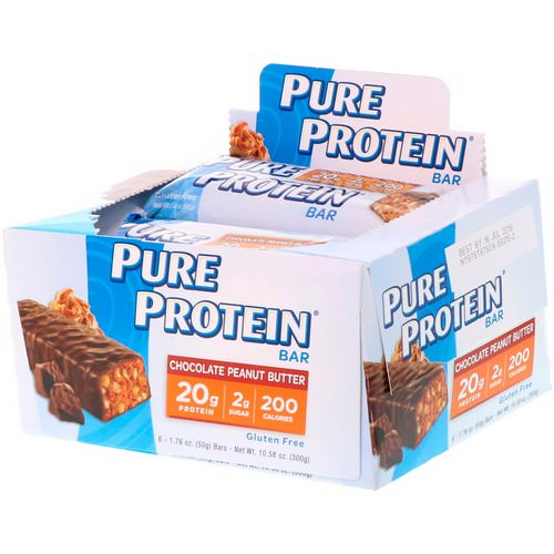 Pure Protein, Chocolate Peanut Butter Bar, 6 Bars, 1.76 oz (50 g) Each فوائد