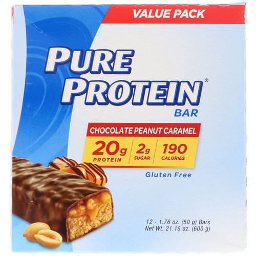 Pure Protein, Chocolate Peanut Caramel Bar, 12 Bars, 1.76 oz (50 g) Each فوائد