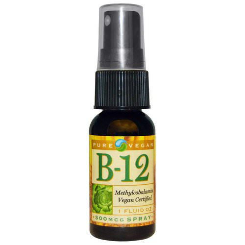 Pure Vegan, B-12, Spray, 500 mcg, 1 fl oz فوائد