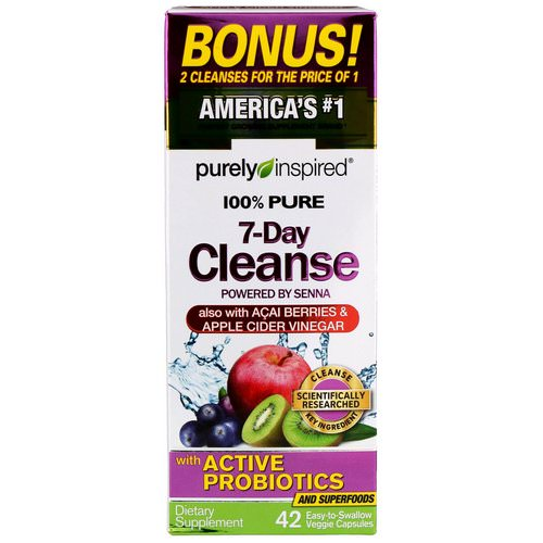 Purely Inspired, 100% Pure 7-Day Cleanse, 42 Easy-to-Swallow Veggie Capsules فوائد