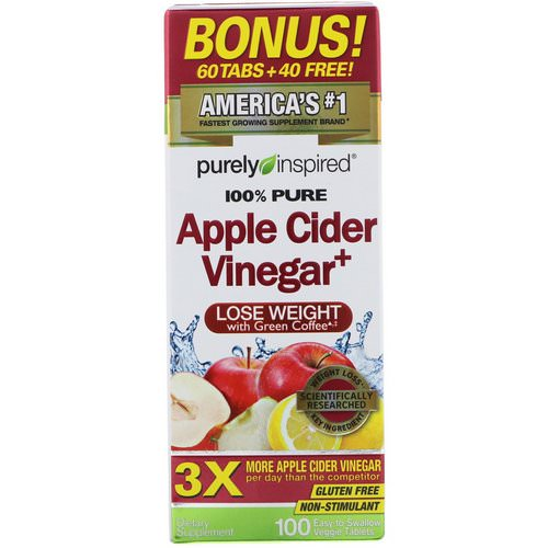 Purely Inspired, Apple Cider Vinegar+, 100 Easy-to-Swallow Veggie Tablets فوائد
