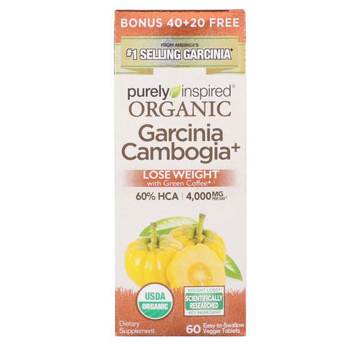 Purely Inspired, Organic Garcinia Cambogia +, 60 Easy-to-Swallow Veggie Tablets فوائد