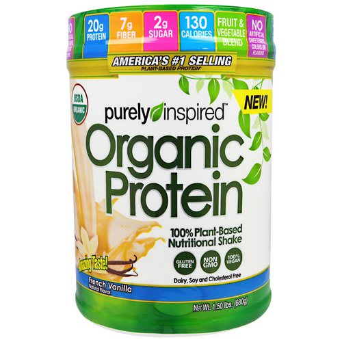 Purely Inspired, Organic Protein, 100% Plant-Based Nutritional Shake, French Vanilla, 1.50 lbs (680 g) فوائد
