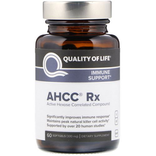 Quality of Life Labs, AHCC RX, 300 mg, 60 Softgels فوائد