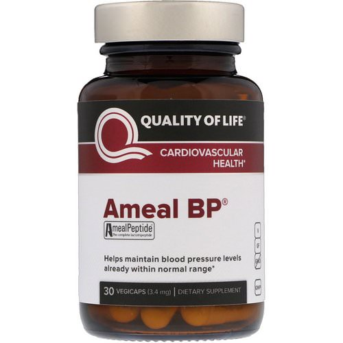 Quality of Life Labs, Ameal BP, Cardiovascular Health, 3.4 mg, 30 VegiCaps فوائد