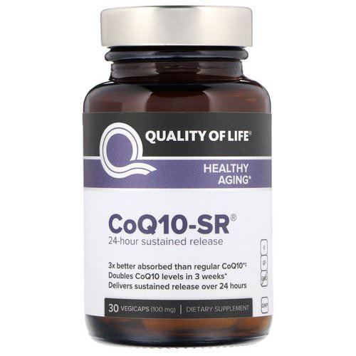 Quality of Life Labs, CoQ10-SR, 100 mg, 30 Vegicaps فوائد