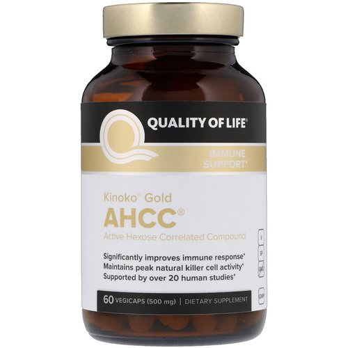 Quality of Life Labs, Kinoko Gold AHCC, Immune Support, 500 mg, 60 Vegicaps فوائد