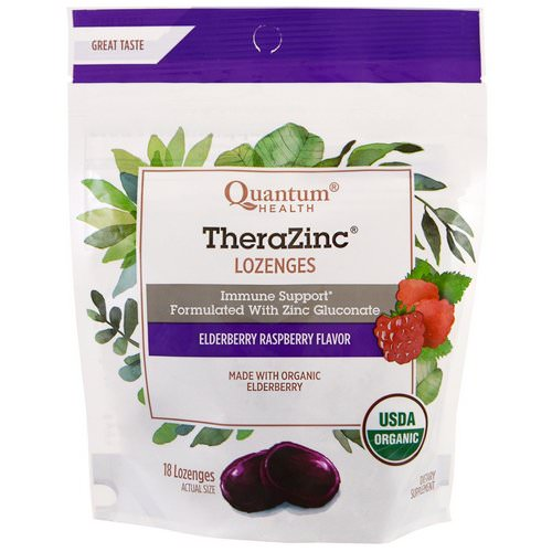 Quantum Health, TheraZinc, Lozenges, Elderberry Raspberry Flavor, 18 Lozenges فوائد