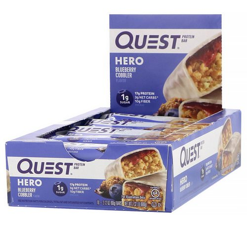 Quest Nutrition, Hero Protein Bar, Blueberry Cobbler, 10 Bars, 2.12 oz (60 g) Each فوائد