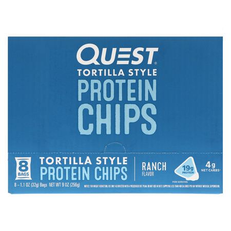 Quest Nutrition, Tortilla Style Protein Chips, Ranch, 8 Bags, 1.1 oz (32 g ) Each:,جبات خفيفة,جبات خفيفة من البر,تين