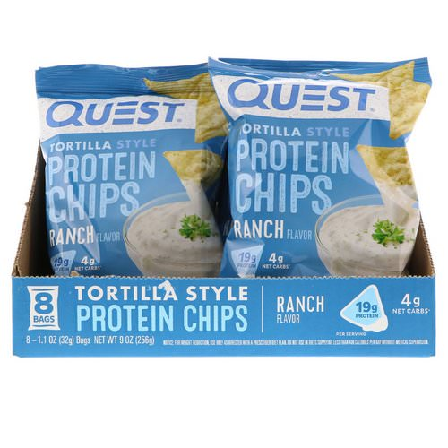 Quest Nutrition, Tortilla Style Protein Chips, Ranch, 8 Bags, 1.1 oz (32 g ) Each فوائد