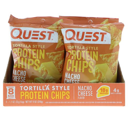 Quest Nutrition, Tortilla Style Protein Chips, Nacho Cheese, 8 Bags, 1.1 oz (32 g ) Each فوائد