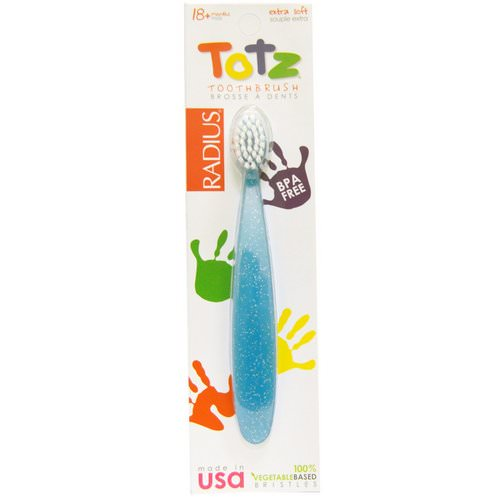 RADIUS, Totz Toothbrush, 18 + Months, Extra Soft, Light Blue Sparkle فوائد