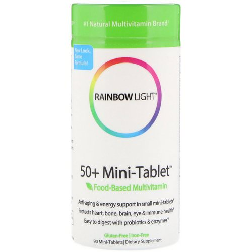 Rainbow Light, 50+ Mini Tablet, Food-Based Multivitamin, 90 Mini-Tablets فوائد