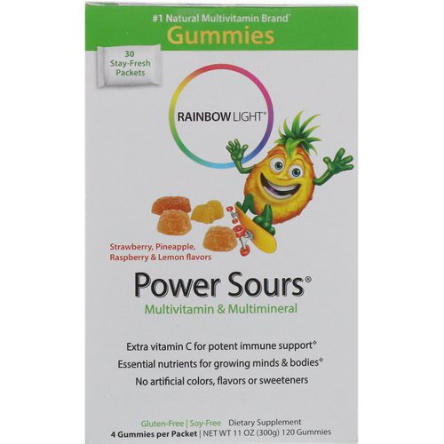 Rainbow Light, Gummy Power Sours, Multivitamin & Multimineral, Strawberry, Pineapple, Raspberry & Lemon Flavors, 30 Packets, (4 Gummies) Each فوائد