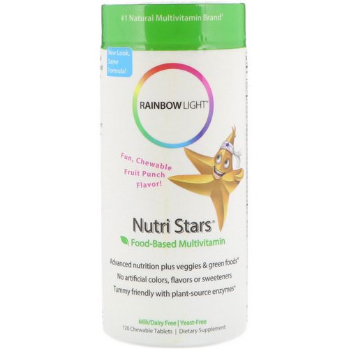 Rainbow Light, Nutri Stars, Food-Based Multivitamin, Fruit Punch Flavor, 120 Chewable Tablets فوائد