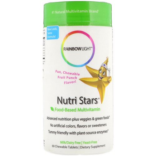 Rainbow Light, Nutri Stars, Food-Based Multivitamin, Fruit Punch Flavor, 60 Chewable Tablets فوائد