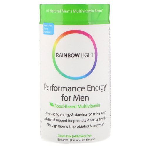 Rainbow Light, Performance Energy for Men, Food-Based Multivitamin, 180 Tablets فوائد