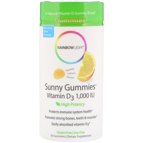Rainbow Light, Sunny Gummies, Vitamin D3, Lemon Flavor, 1,000 IU, 50 Gummies فوائد