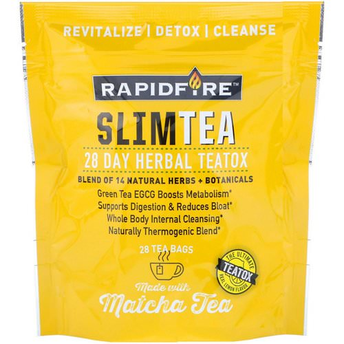 RAPIDFIRE, SlimTea, 28 Day Herbal Teatox, Matcha Tea, Real Lemon Flavor, 28 Tea Bags فوائد