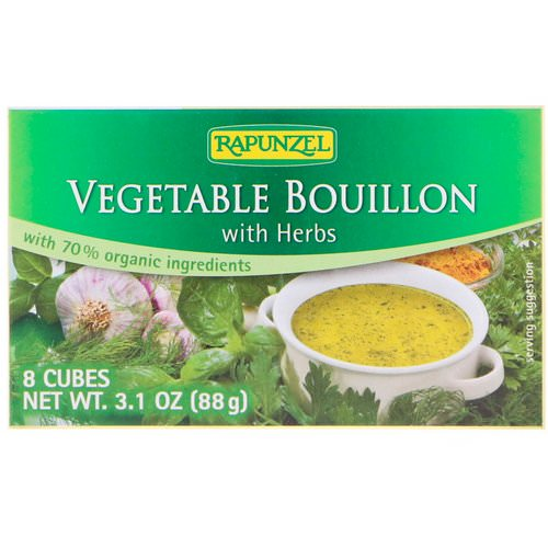 Rapunzel, Vegan Vegetable Bouillon with Herbs, 8 Cubes 3.1 oz (88 g) فوائد